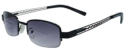 Rodeo i8 Premium Thinline Half Frame Casual Style Work Bi Focal Sun Reader Sunglasses (Slate, 3.50)