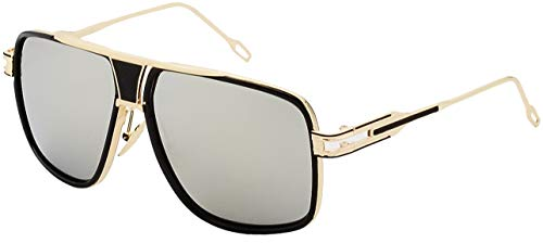 Square Sunglasses Gold and Black Frame Gold Nose Pads with S