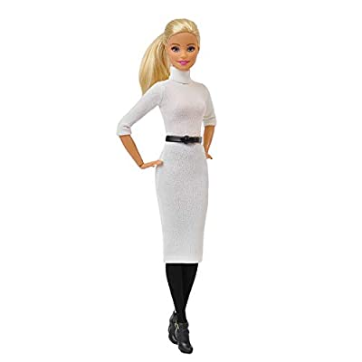 Elenpriv FAO-029 White Dress w/Black Belt + Black Tights Full Outfit for 11 1/2 inches Doll Clothes Outfit Fashions for Dolls: Toys & Games
