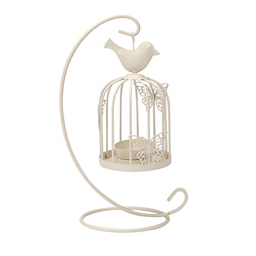 Quaanti Modern New Bird Cage Candle Holder Hanging Metal Vintage Butterfly Pattern Lantern Candlestick Romantic Wedding Home Decor (White)