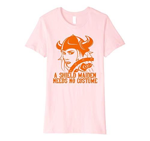 Womens Viking Shield Maiden Needs No Costume Halloween T Shirt Medium Pink