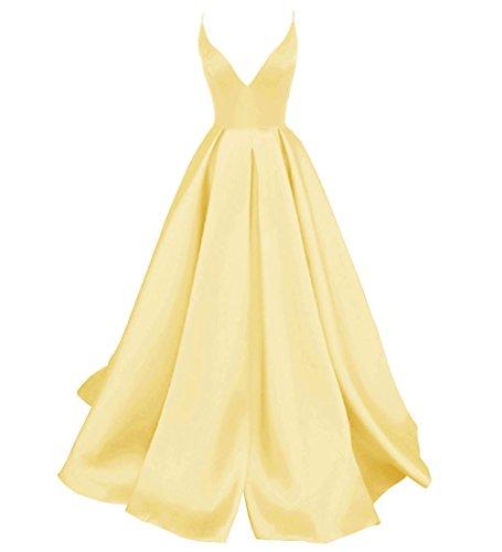Yellow Prom Formal Cross Women Back V Criss Evening Spaghetti Straps DYS Dress Neck s HanUYCq