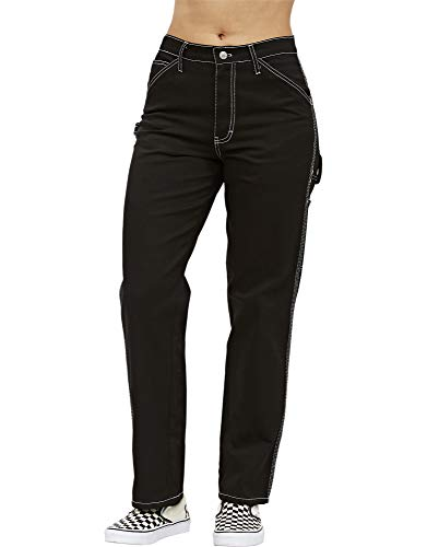 Dickies Girl Juniors' Relaxed Fit High-Rise Twill Carpenter Pants (Black, 5) -
