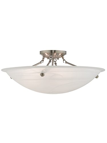 Livex Lighting 4275-91 Oasis 4-Light Ceiling Mount, Brushed Nickel ()
