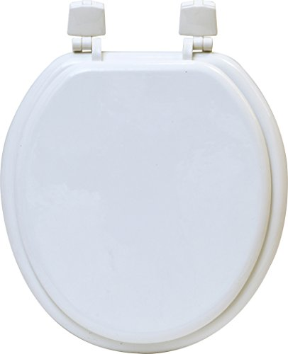 EVIDECO 4105100 Round Molded Wood Toilet Seat Solid White 15
