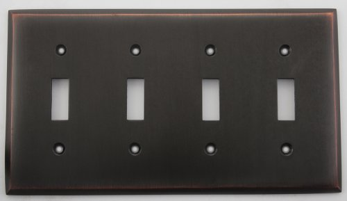 Brass Toggle Switchplate - Oil Rubbed Bronze Four Gang Toggle Switch Plate