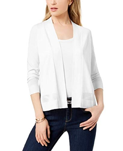Charter Club Perforated 3/4-Sleeve Cardigan (Bright White, M)