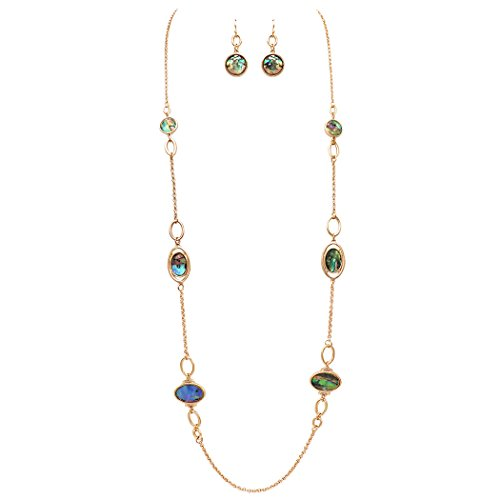 Rosemarie Collections Women's Reversible Abalone and Filigree Disc Long Strand Necklace Earrings Set -