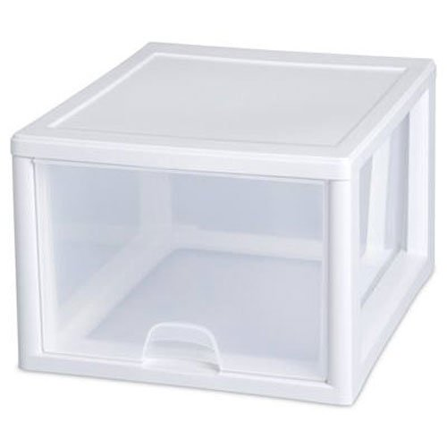 Drawers Sterilite Storage (Sterilite 23108004 27 Quart/26 Liter Stacking Drawer, White Frame with Clear Drawers, 4-Pack)