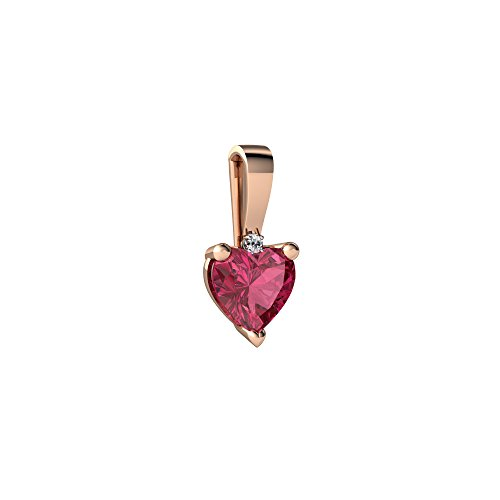 (14kt Rose Gold Pink Tourmaline and Diamond 5mm Heart Solitaire Pendant)