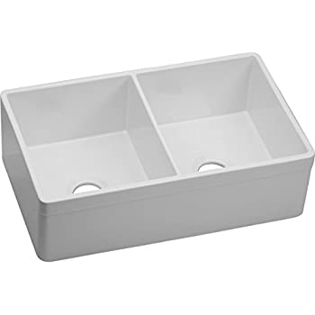 Elkay Fireclay SWUF32189WH Equal Double Bowl Farmhouse Sink