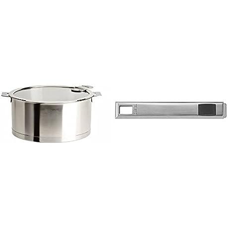 Cristel Strate C20QLKSA Saucepan 3 Quart Silver With Cristel Strate Psx Handle Long Silver