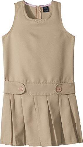 U.S. POLO ASSN. Kids Girl's Poly Pleated Jumper (Big Kids) Khaki 8