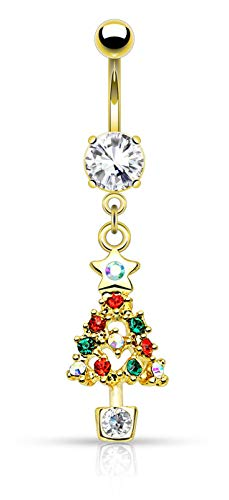 Forbidden Body Jewelry 14g Surgical Steel Christmas Themed Belly Ring, Gemmed Christmas Tree (Gold)