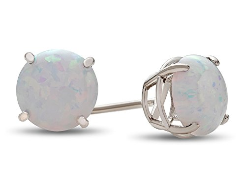 White Gold Opal Earrings - Finejewelers 10k White Gold 7mm Round Created Opal Post-With-Friction-Back Stud Earrings