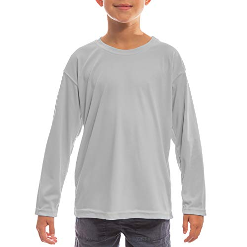Vapor Apparel Youth UPF 50+ UV/Sun Protection Long Sleeve T-Shirt Large Pearl Grey