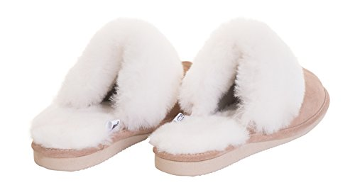 Rusnak Womens Sheepskin Leather Mule Slippers House Shoes/Warm Wool Lining P01 Beige/White PTRD50