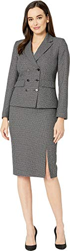 (Tahari by ASL Women's Double Breasted Skirt Suit with Flap Pocket Black/White 16)