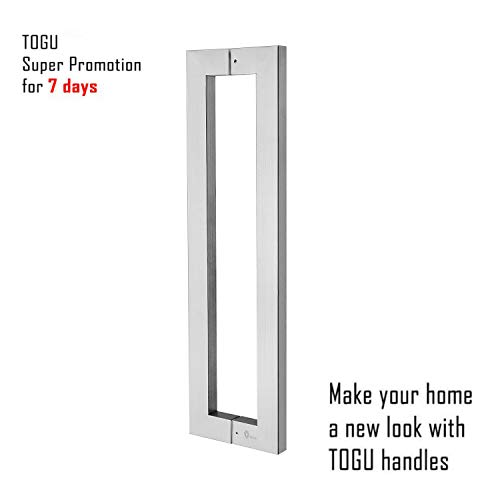 TOGU TG-6013 1200mm/48 inches Square/Rectangle Shape Stainless Steel Push Pull Door Handle for Solid Wood, Timber, Glass and Steel Doors, Full Brushed Stainless Steel Finish