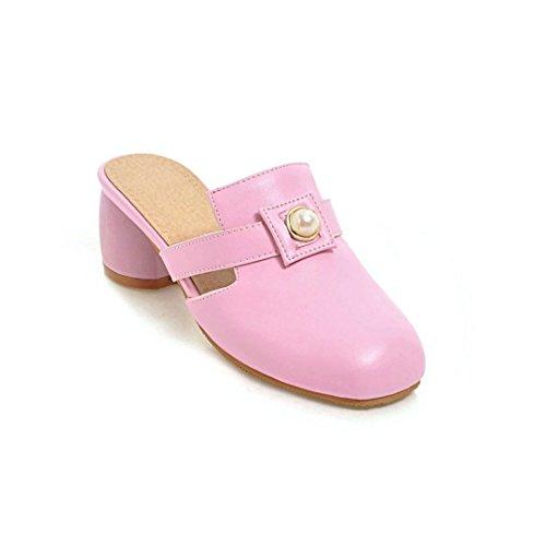 AIKAKA Zapatos de Mujer Primavera y Verano Cabeza Cuadrada con Sandalias de Tacón Grueso Pink