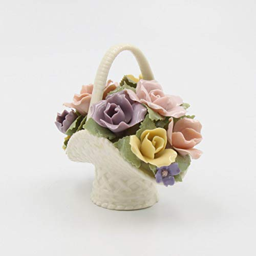 Fine Porcelain Multicolor Colorful Rose Flowers Basket Figurine, 4-1/8