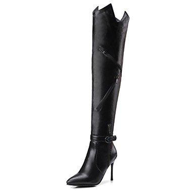 Heart&M Mujer Zapatos Materiales Personalizados Semicuero Otoño Invierno Botas de Equitación Botas de Moda Botas Tacón Stiletto Dedo Puntiagudo black