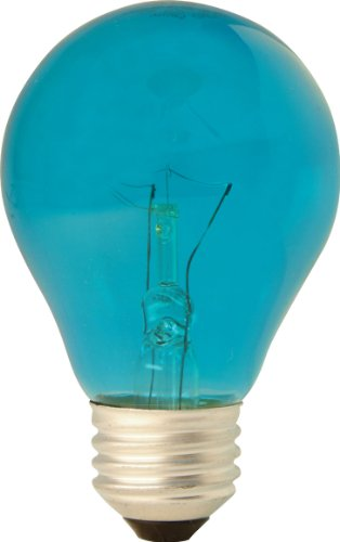 GE Lighting 22732 25 Watts Specialty A19 Incandescent Light Bulb, Teal Glass -