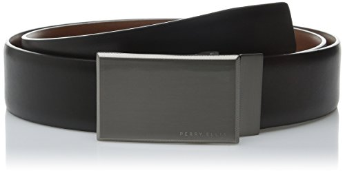 Black Leather Plaque Buckle Belt - Perry Ellis Men's Portfolio Reversible Patterned Plaque Belt, Black/Brown, 34