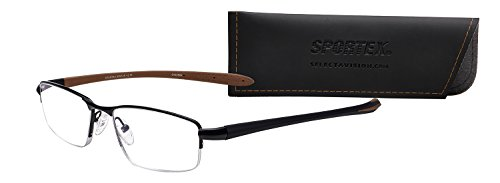 Sportex Readers Men's Semi-Rimless Metal AR Reading Glasses Brown, 2.00 from Select-A-Vision