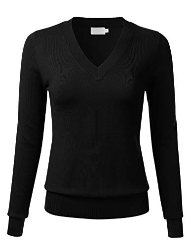 (FLORIA Women's Soft Basic Thick V-Neck Pullover Long Sleeve Knit Sweater Black L)