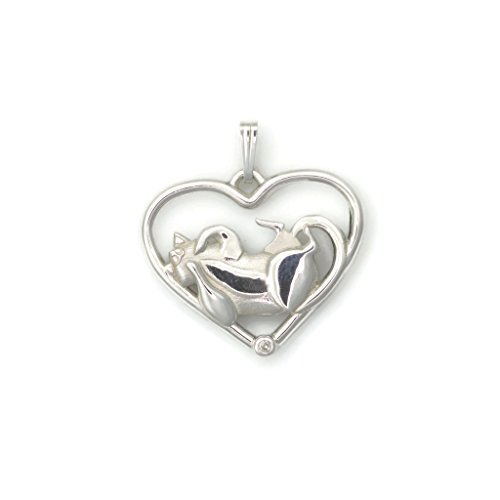 Sterling Silver Whimsical Cat (Sterling Silver Cat Necklace, Diamond Cat Pendant fr Donna Pizarro's Animal Whimsey Collection of Diamond Cat Jewelry)