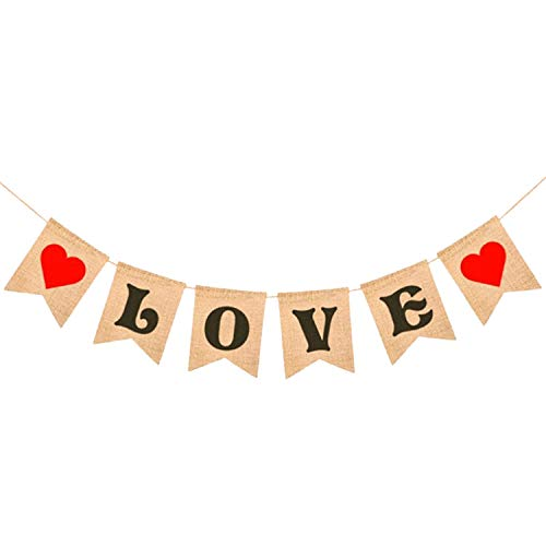 LOVE Burlap Heart Banner - Assembled Banner | No DIY | Valentines Day Decorations - Valentine's Decorations | Valentines Day Banner Sign for Engagement, Wedding, Anniversary Decor, Valentines Garland ()