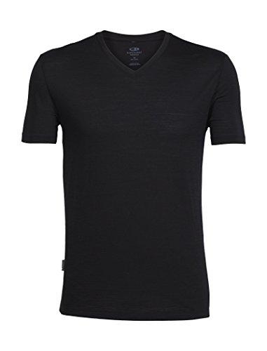 Icebreaker Merino Men's Tech Lite Short Sleeve V Neck T-Shirt, Black, Medium - Ice Breaker Wool Shirt