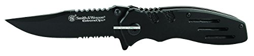 Smith & Wesson Extreme Ops SWA24S 7.1in S.S. Folding Knife with 3.1in Serrated Clip Point Blade and Aluminum Handle for Outdoor, Tactical, Survival and EDC