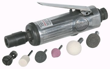 Buy Bargain Compact Air Die Grinder Kit (with 1/8'' collet, 1/4'' collet, three aluminum oxide mount...
