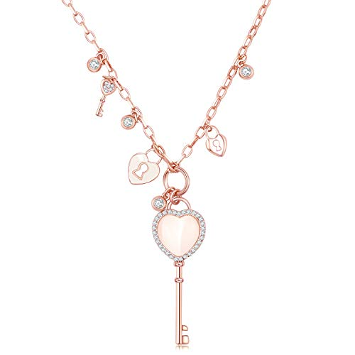Jewelryland Rose Gold Plated Padlock Heart Key Charm Pendant Y Lariat Long Necklace ()