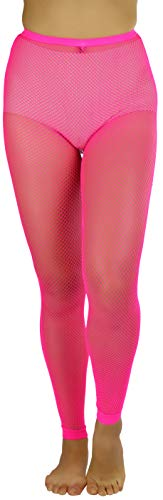 Hot Pink Fishnet Stockings (ToBeInStyle Women's Spandex Fishnet Cuffed Ankle Leggins - Hot)