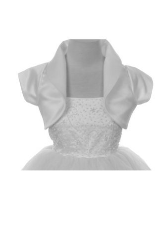 Fleece Bolero (Classic Collared Satin Cap Sleeve Bolero - White Girls 12)