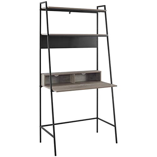 36 inch Metal and Wood Ladder Desk in Grey Wash by WE Furniture