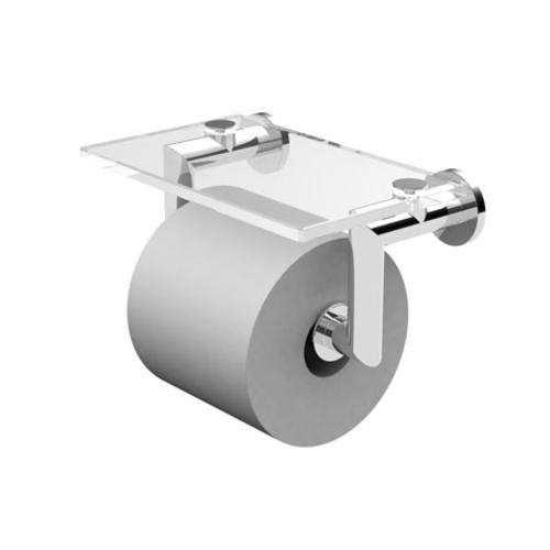 Ginger 4627/PC Kubic Double Post Toilet Tissue Holder with Glass Shelf 4627, Polished Chrome - Brasstech Shelf