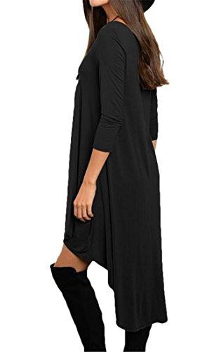 Loose Crewneck shirt Tunic Dress Sleeve Womens Long Black Solid Cromoncent T RIq651