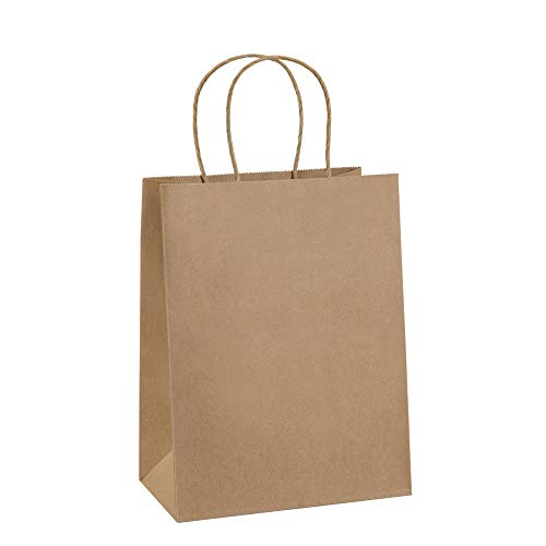 Gift Bags 8x4.25x10.5 25Pcs BagDream Paper Bags, Shopping Bags, Kraft Bags, Retail Bags, Brown Paper Gift Bags Bulk with Handles 100% Recyclable Paper Bags