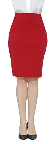 Marycrafts Women's Work Office Business Pencil Skirt M Red 4 by Marycrafts