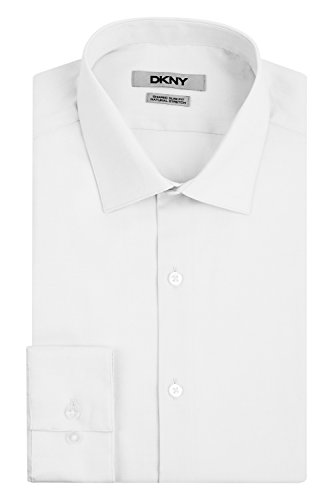 DKNY Slim Fit Natural Cotton Stretch Pinpoint Dress Shirt 17.5
