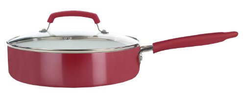 WearEver C94333 Pure Living Nonstick Ceramic Coating Scratch Resistant PTFE PFOA and Cadmium Free Dishwasher Safe Oven Safe Jumbo Cooker Fry Pan Cookware, 3.5-Quart, Red