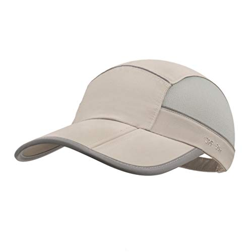 (UPF 50 Mens Outdoor Hat Reflective Folding Mens Running Run Sports Sport Hats Summer Cool UV Sun Unstructured Baseball Cap Caps Safe Light Quivk Dry Breathable Travel Golf Hat Hats for Men Women Khaki)