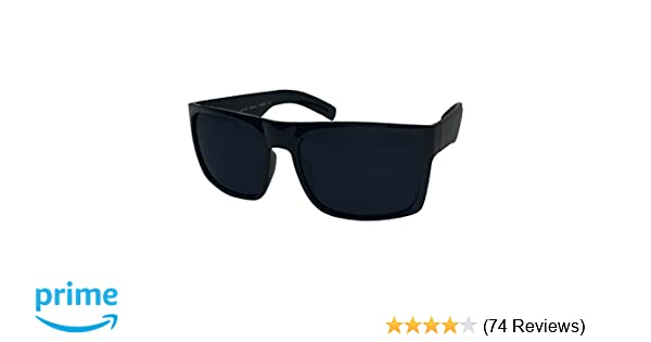 fd63ba45e4 Amazon.com  XL Men s Big Wide Frame Black Sunglasses - Extra Large Square  148mm  Clothing