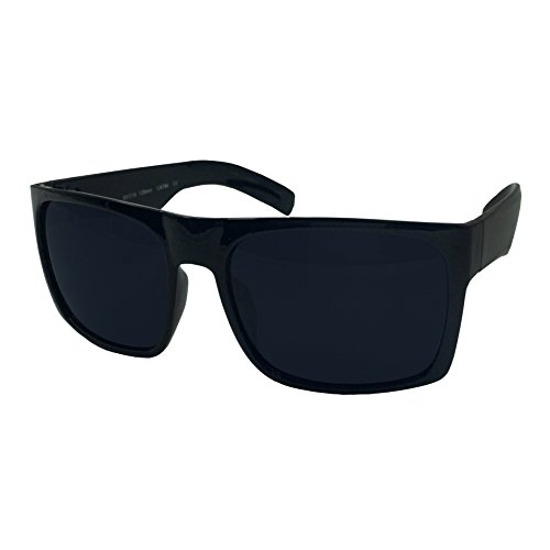 XL Men's Big Wide Frame Black Sunglasses - Extra Large Square 148mm (Large Sunglasses)