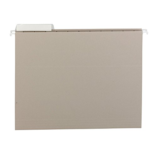 Smead Letter File Cabinet - Smead Hanging File Folder, 1/3-Cut Adjustable Tab, Letter Size, Gray, 25 per Box (64027)