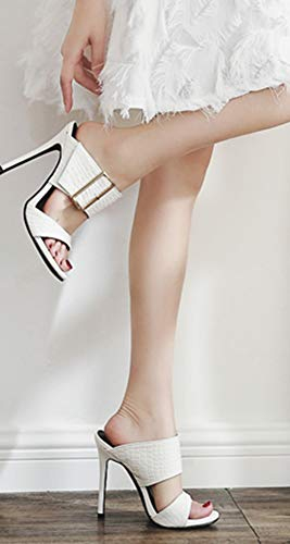 Bout Bal Aisun Talon Ouvert Aiguille Blanc Décorative Boucle Femme Mule Sexy Haut qr80F